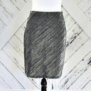 Black & Silver Metallic Pencil Skirt